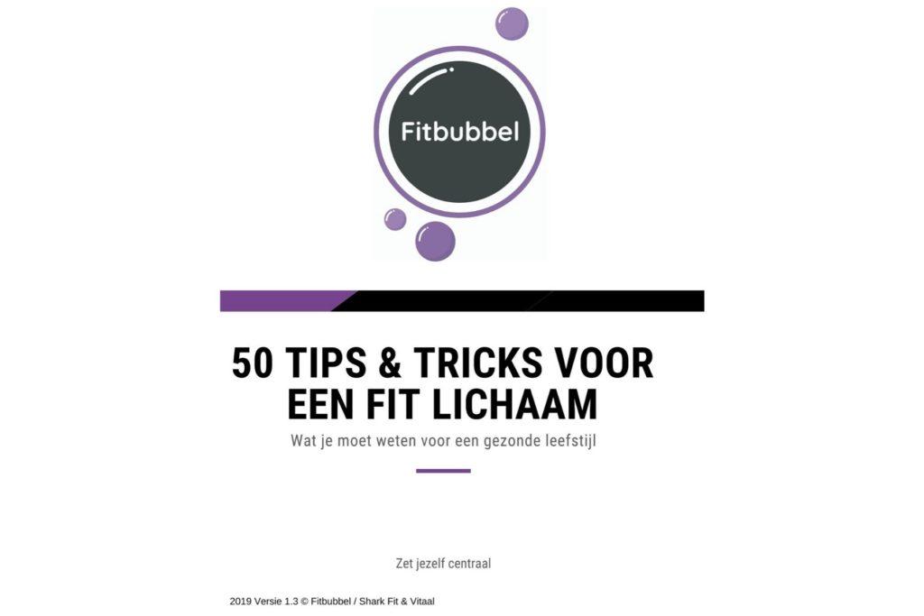 voorkant voor e-boek 50 tips voor een fit lichaam fitbubbel
